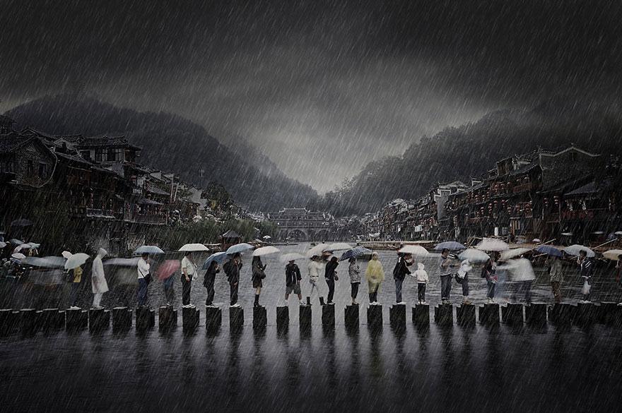 Lluvia en una antigua ciudad, fue tomada en el sur de China, contó Chen Li, ganador en Viajes.
