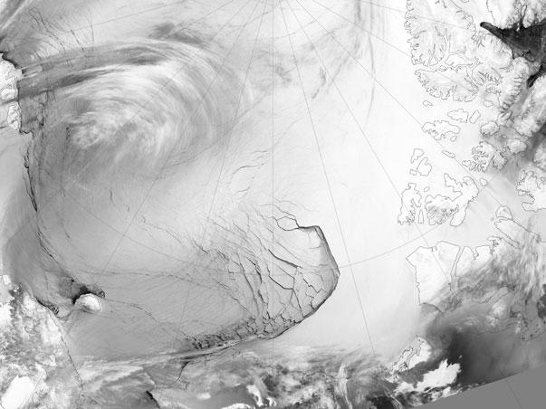 """""""Tierras desoladas"""" Vista de una amplia fractura del hielo marino en la costa norte de Alaska"""