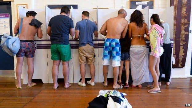 votando en Australia
