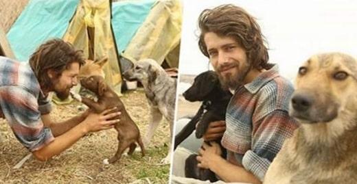 Él dejó el modelaje para cuidar a unos perritos abandonados. ¡Ya lleva 500 y no se detiene!